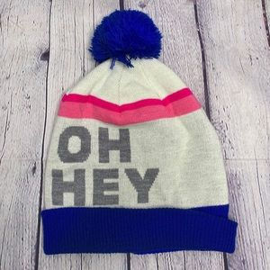 American Eagle pink blue winter hat with pom pom